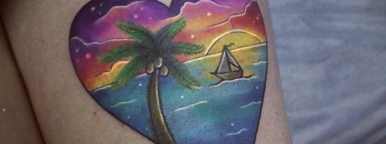Художественная татуировка «Пальма». Мастер Настя Стриж.