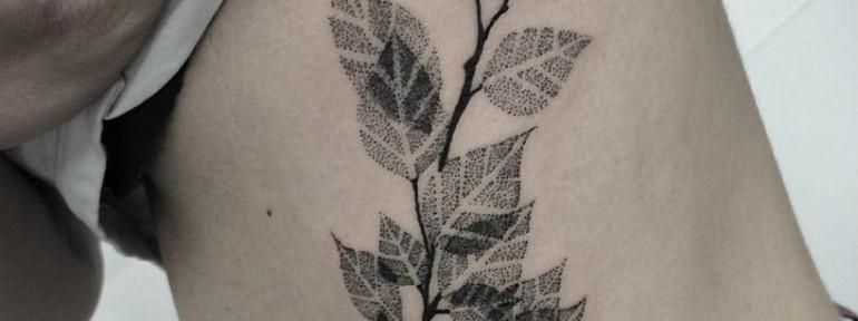 Художественная татуировка «Берёзовая ветвь» от Лилии Золотухиной