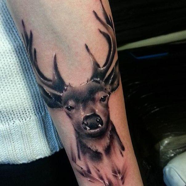 Художественная татуировка «Олень» от Евгения Ершова.