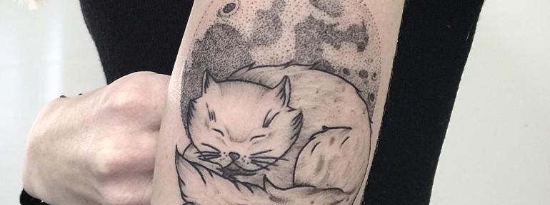 Художественная татуировка «Котик» от Лилии Золотухиной