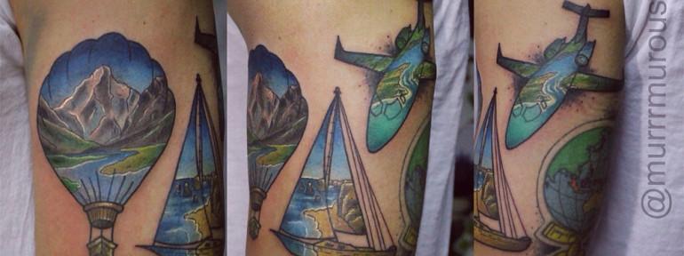 Художественная татуировка «Время приключений». Мастер Настя Стриж