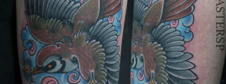 Художественная татуировка «Воробей» от Данилы-Мастера