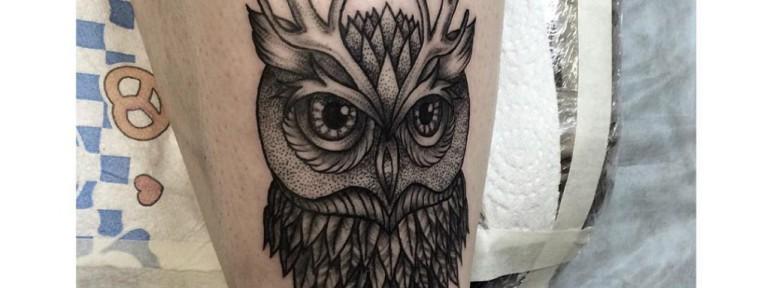 Художественная татуировка «Сова». Мастер- Лилия