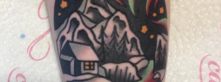 Художественная татуировка «Пейзаж» от Вовы Meatshit
