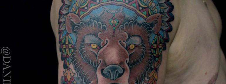 Художественная татуировка «Медведь» от Данилы-Мастера
