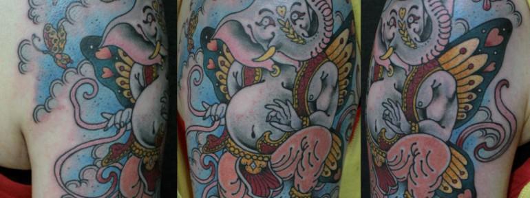 Художественная татуировка «Танцующий слон» от Данилы-Мастера
