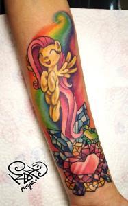 Художественная татуировка «My little pony». Мастер — Анна Корь. Расположение — предплечье
