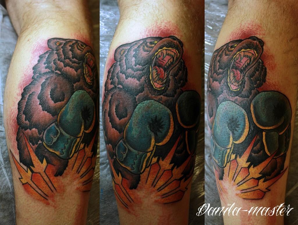 Художественная татуировка, художественная тату, тату медведя, тату медведя боксера, эксклюзивная татуировка