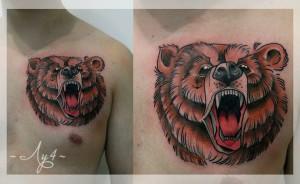 Художественная татуировка «Медведь». Мастер Катя Луч. По собственному эскизу. Расположение: грудь. Время работы 3 часа.