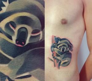Художественная татуировка «Коала». Мастер Саша Unisex. По собственному эскизу. Время работы: 2,5 часа. Расположение: бок.