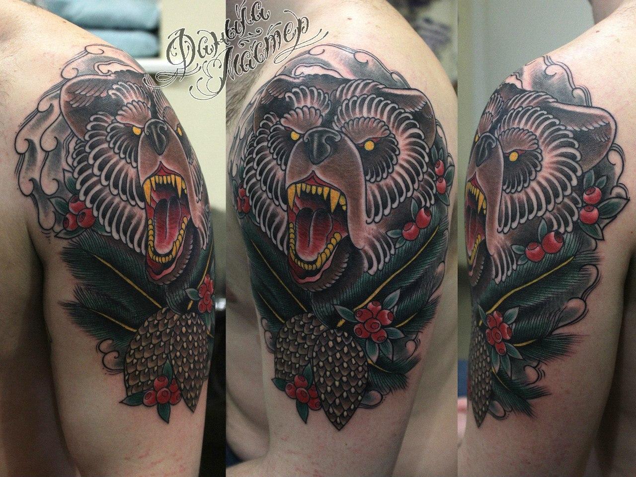 Художественная татуировка «Медведь» от Данилы-мастера. Место нанесения: плечо, по своему эскизу.