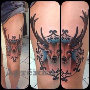 Мастер Артем Михайлюта. Татуировка «Олень» Расположена на ноге.