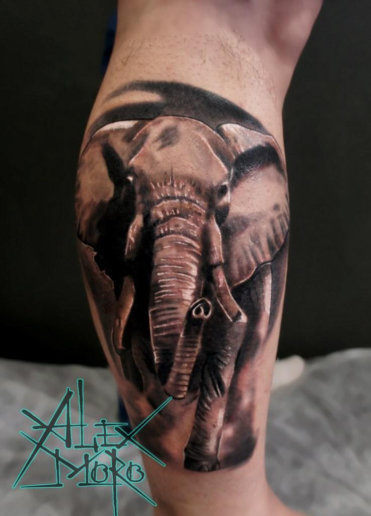 Художественная татуировка «Слон» от Александра Морозова