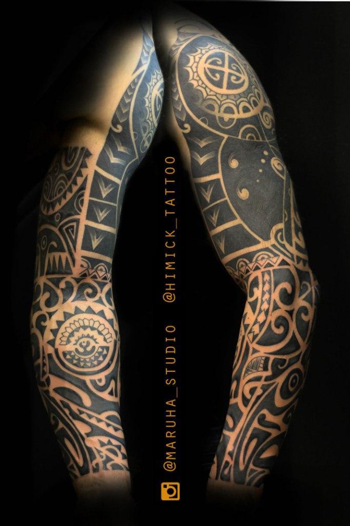 Художественная татуировка «Полинезия». Мастер- Евгений (Химик) Булгаков