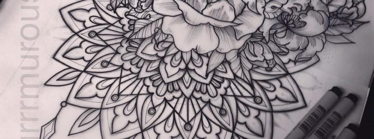 Эскиз «Орнамент и роза».Мастер Настя Стриж