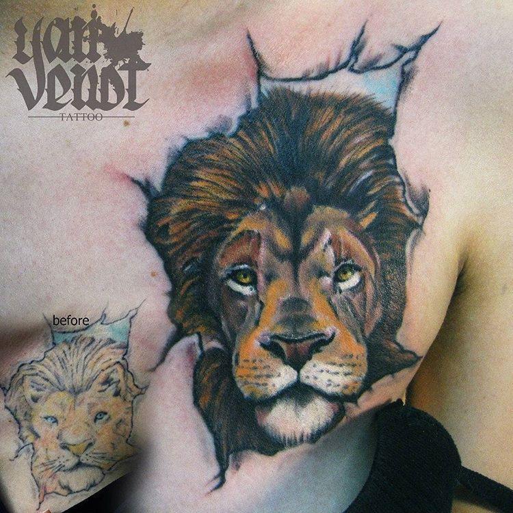 Художественная татуировка «Лев».Мастер Ян Енот.Реставрация