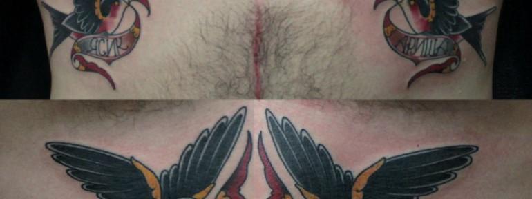 Художественная татуировка «Ласточки» от Данилы-Мастера