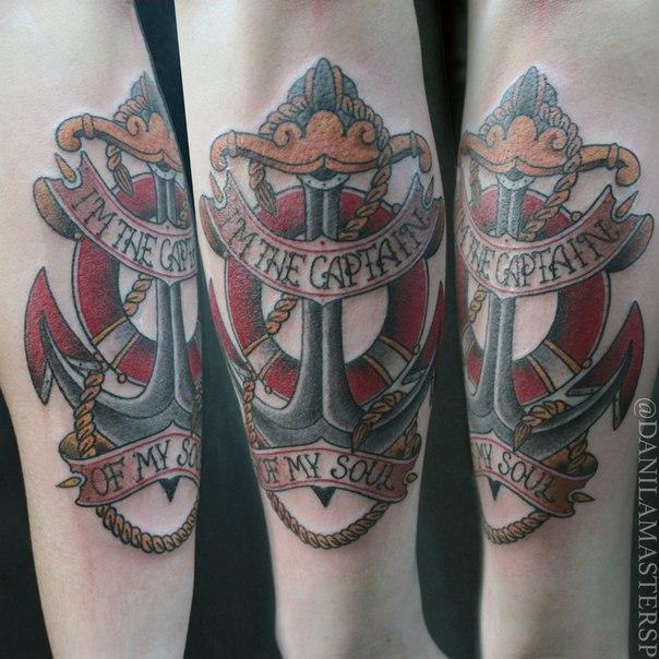 Художественная татуировка «якорь» от Данилы-Мастера