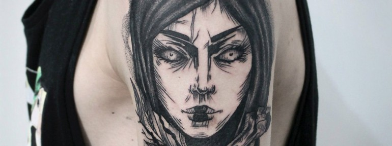 Художественная татуировка «Девушка». Мастер — Инесса Кефир