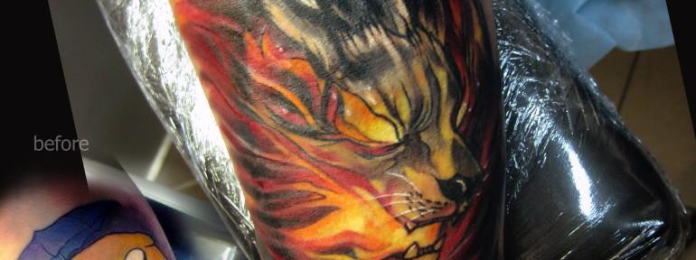 Перекрытие старой татуировки «Огненный пёс».Мастер Ян Енот.