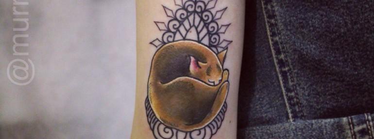 Художественная татуировка «Котик».Мастер Настя Стриж.