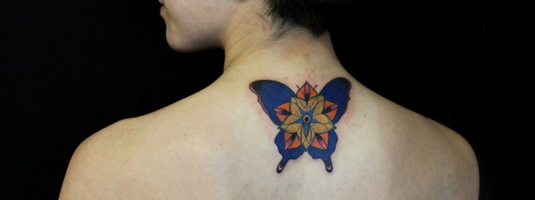 Художественная татуировка «Бабочка». Мастер — Саша Новик