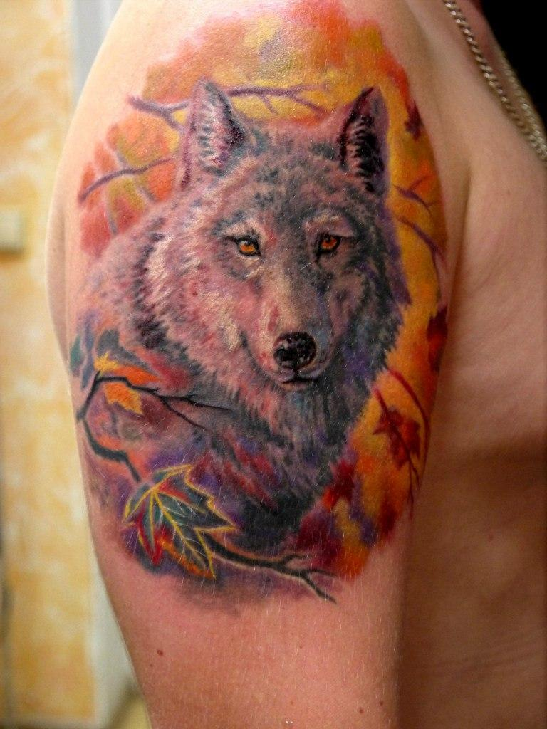 Художественная татуировка «Волк». Мастер- Дмитрий Головкин