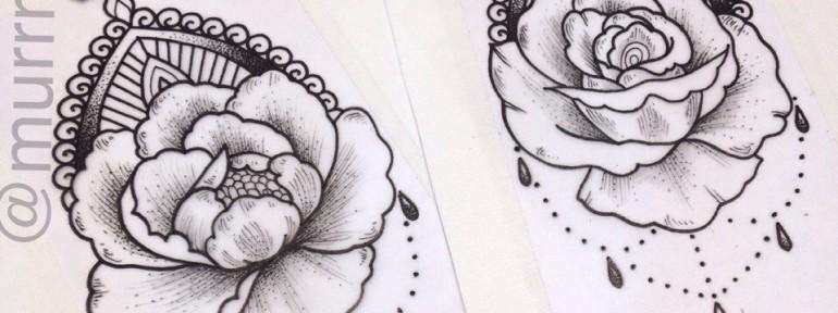 Свободные эскизы «Цветы». Мастер Настя Стриж