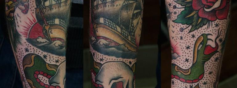 Художественная татуировка по флэшам Сейлора Джерри. Мастер Даня Костарев
