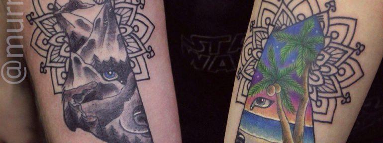 Художественная парная татуировка «Волк».Мастер Настя Стриж