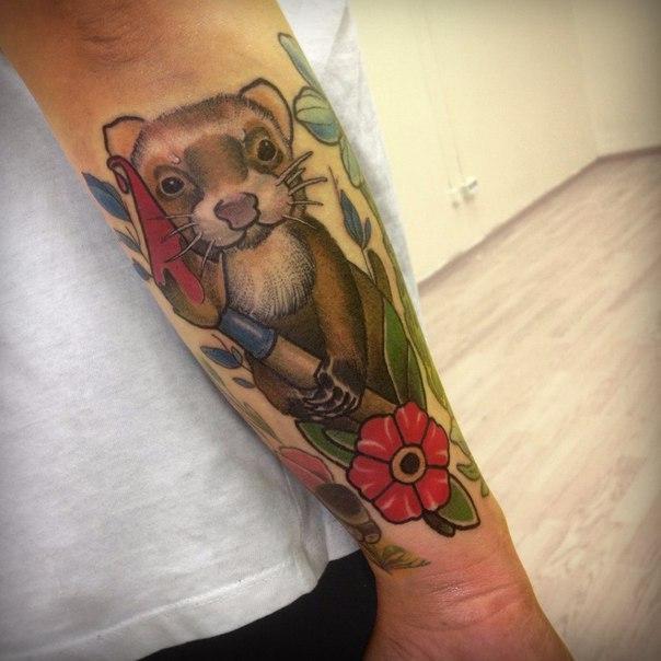 Художественная татуировка «Суслик» от Дмитрия Поликарпова