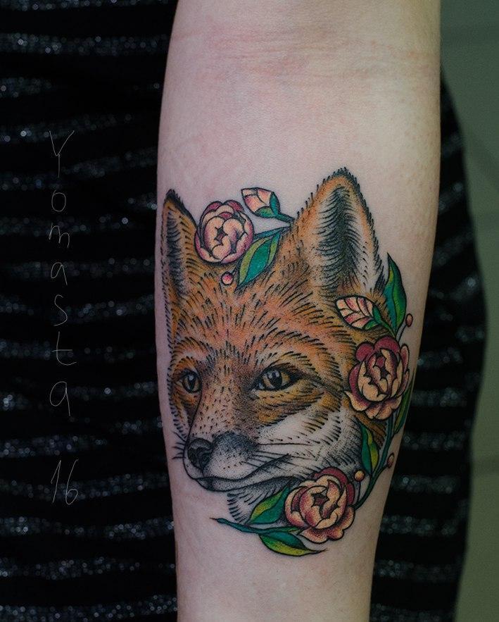Художественная татуировка «Лиса».Мастер Данил Костарев.