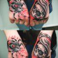 Художественная татуировка «Паук и Смерть с косой»