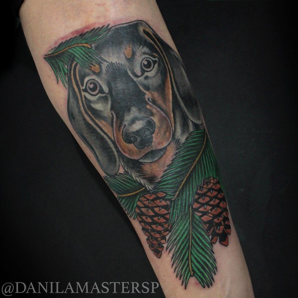 Художественная татуировка «Собака» от Данилы-Мастера. Работа выполнена за 2,5 часа по собственному дизайну. Кавер