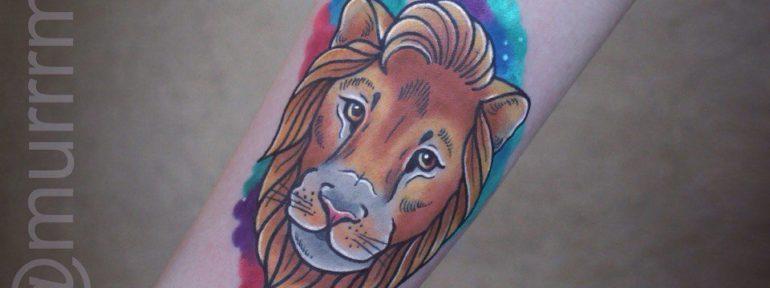 Художественная татуировка «Лев».Мастер  Настя Стриж