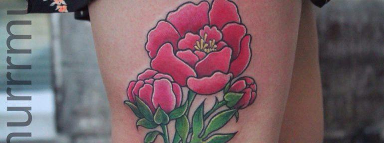 Художественная татуировка «Пионы».Мастер Настя Стриж.