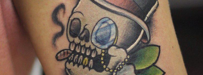 Художественная татуировка «Череп». Мастер Ил Берёза