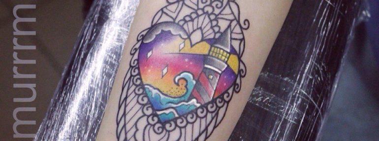 Художественная татуировка «Маяк».Мастер Настя Стриж.