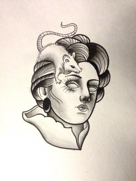 Свободный эскиз «Девушка с крысой». Мастер Нияз Фахриев.