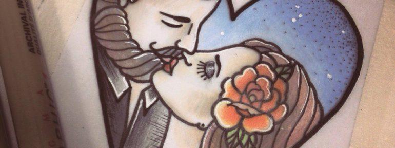 Свободный эскиз «Влюбленные». Мастер Настя Стриж