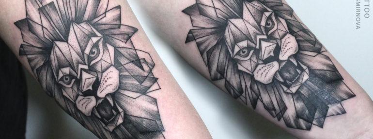 Художественная татуировка «Лев» от Ксении Смирновой