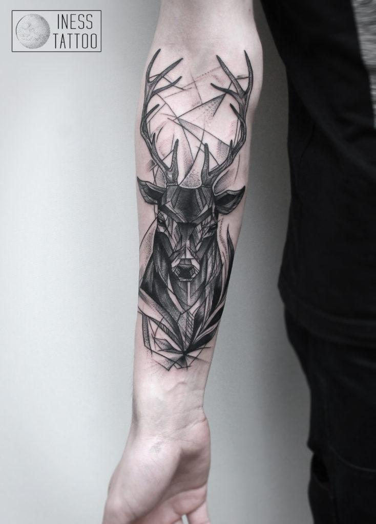 """Художественная татуировка """"Олень"""""""