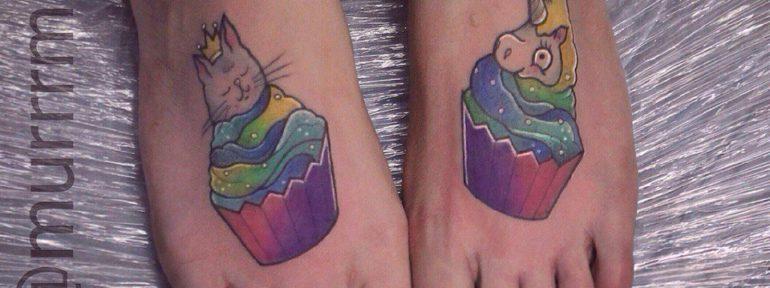 Художественная татуировка «Живые кексики». Мастер Настя Стриж
