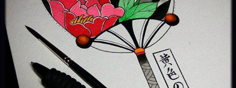 Свободный эскиз «Японский веер». Мастер Алексей Стафеев