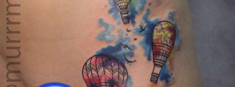 Художественная татуировка «Воздушные шары». Мастер Настя Стриж