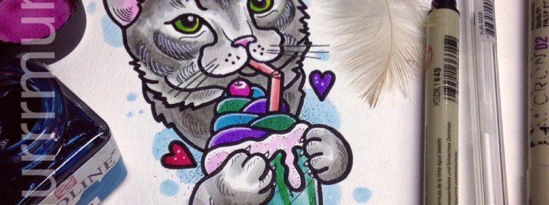 Свободный эскиз «Кошачий коктейль». Мастер Настя Стриж.