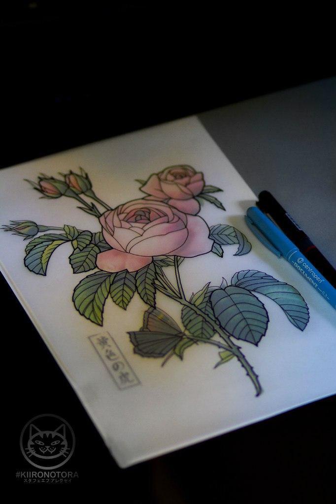 Свободный эскиз «Розы». Мастер Алексей Стафеев