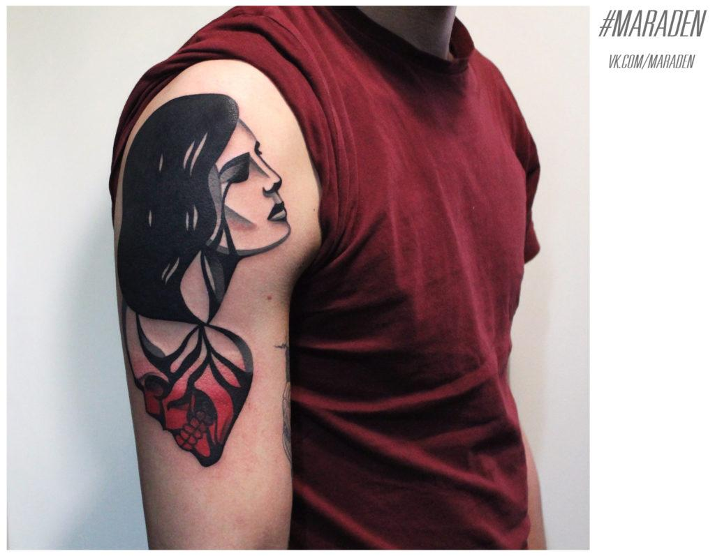 Художественная татуировка от Дениса Марахина. Плечо