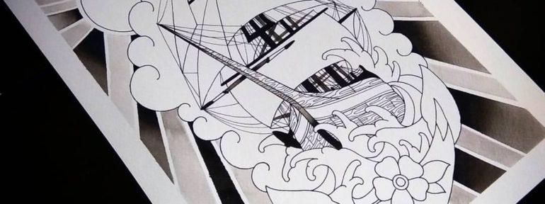 Свободный эскиз «Корабль». Мастер Лёша Стафеев