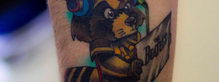 Художественная татуировка «Енот».  Работе три года. Мастер Лёша Стафеев